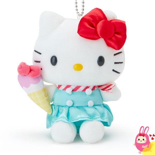 Hamee 日本正版 三麗鷗 繽紛暑假 絨毛娃娃 掌上型玩偶 珠鍊吊飾 (kitty 凱蒂貓) 379484
