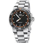 Oris豪利時 Aquis 時間之海300米潛水機械錶-黑x橘圈/43mm 0173376534128-0782601PEB
