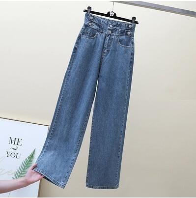 S-5XL胖妹妹大碼松緊腰牛仔褲~大碼女裝牛仔褲胖mm高腰闊腿褲直筒長褲女8021.2F075E莎菲娜