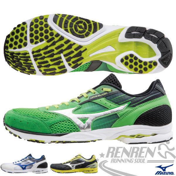 MIZUNO美津濃 男路跑鞋WAVE SPACER DYNA 2(綠*銀) 高抓地力,接地時間短,追求速度感