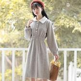 洋裝 小個子溫柔系穿搭洋裝長裙秋冬裝女復古加厚毛呢裙子-Milano米蘭
