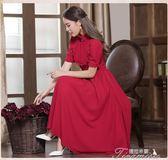 歐式復古宮廷風紅色連身裙短袖高腰收身長裙懷舊民國風小洋裝女夏  提拉米蘇