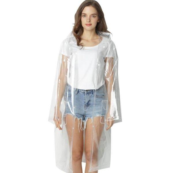 618大促時尚抖音男女情侶透明雨衣成人徒步背包戶外長款雨披便攜玩水外套