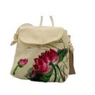 朵那的手繪包 香風弄晴暉-蓮花 帆布斜背包