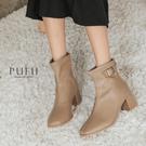 PUFII-靴子 側釦環粗跟短靴子-1021 現+預 秋【CP21230】