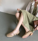日繫軟妹可愛淺口單鞋女夏森繫方頭娃娃鞋一字扣平底瑪麗珍鞋 潮流時