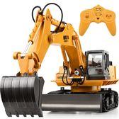 快速出貨八折促銷-遙控挖掘機充電動合金工程車無線兒童玩具男孩禮物耐摔大號挖土機jy 免運