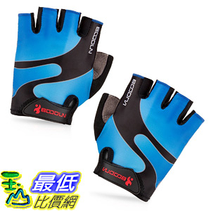 [106美國直購] 手套 BOODUN Cycling Gloves with Shock-absorbing Foam Pad Breathable Half Finger Blue