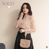 東京著衣【YOCO】浪漫淑女蕾絲雕花百褶紗袖上衣(191664)(領券折後$299)