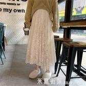 高腰秋冬中長裙子女新款2020蕾絲a字裙顯瘦拜年半身裙冬天配毛衣