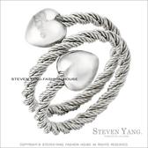鋼戒指 西德鋼飾「鋼索雙愛心」鋼索造型
