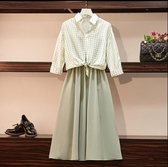 套裝裙洋裝兩件套L-4XL中大尺碼女裝顯瘦遮肚子連衣裙小外套兩件套3F088.05128愛尚布衣