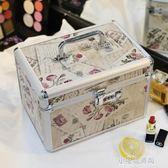 鋁合金化妝箱多功能手提雙層大容量收納盒小號便攜專業帶鎖化妝包『小宅妮時尚』