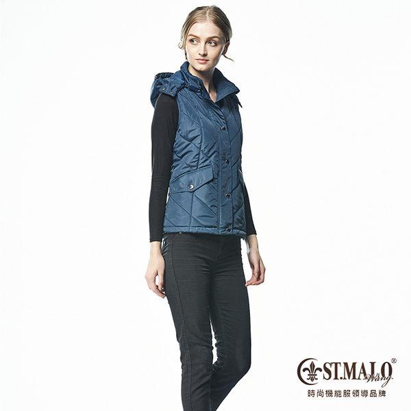 【ST.MALO】暖心羊駝連帽背心-1659WV-丈青色