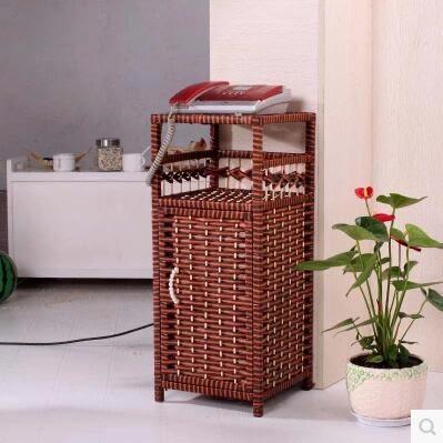 純手工多功能置物架花盆架電話架子 草編收納櫃籐編儲物櫃