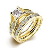 鈦鋼戒指 鑲鑽-精緻奢華雙層時尚生日情人節禮物男飾品73le6【時尚巴黎】