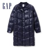 Gap 女裝 純色簡潔絎縫長款羽絨服 396985-海軍藍色