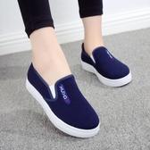 懶人鞋女帆布鞋一腳蹬老北京平底黑色休閒學生單鞋女布鞋  極有家