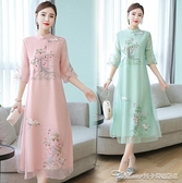 茶服茶服女旗袍連身裙七分袖寬鬆文藝復古禪意茶藝師服裝夏中國風茶道 阿卡娜