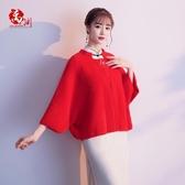配旗袍披肩斗篷外套女秋冬蝙蝠型短款加厚顯瘦復古中國風斗篷式 ▷◁
