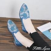夏季網鞋女透氣鏤空涼鞋女平底民族風蕾絲繡花媽媽鞋中年女鞋 范思蓮恩