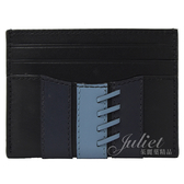 茱麗葉精品【全新現貨】COACH 77934 撞色牛皮條紋編織邊造型信用卡名片夾.黑