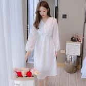 洋裝連身裙甜美S-2XL新款法國小眾娃娃領收腰顯瘦長袖仙女裙T613-1110.胖胖唯依