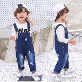 兒童背帶褲男童嬰兒褲子女童牛仔長褲韓版破洞童裝寶寶牛仔背帶褲  凱斯盾數位3c