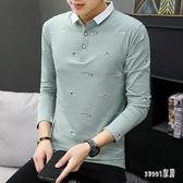 秋冬季男士長袖T恤polo衫青年男裝修身打底衫有領純棉翻領體桖 LR12416【Sweet家居】