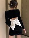 年會禮服 年會小禮服赫本風平時可穿露背蝴蝶結絲絨連衣裙新款春氣質【快速出貨八折搶購】