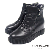 Tino Bellini抓皺線條全真皮厚底內增高短靴_黑 A69056