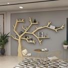 書架 簡約現代實木樹形書架辦公室客廳沙發後創意墻上落地置物架裝飾架 MKS韓菲兒