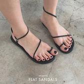 (現貨-除了黑36)PUFII-涼鞋 細繩編織調整型繞踝彈性平底羅馬涼鞋-0621 現+預 夏【CP14905】