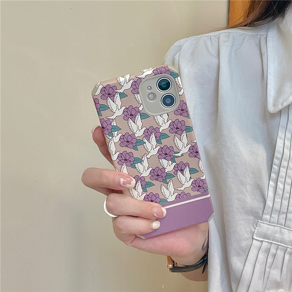 白鶴紫色小花朵蘋果手機殼iphone12/11Promax/Xr/78Plus/Xsmax防摔保護套