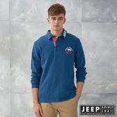【JEEP】潮男品牌LOGO領長袖POLO衫 (海洋藍)