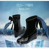 女士中筒防滑雨鞋高跟防水套鞋時尚坡跟膠鞋保暖水鞋冬雨靴女 瑪麗蓮安igo