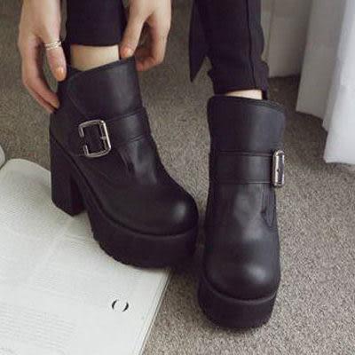 厚底鞋 韓版粗跟厚底馬丁短靴【S058】☆雙兒網☆