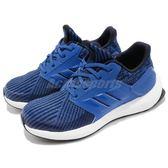 adidas 慢跑鞋 RapidaRun Knit C 藍 深藍 編織鞋面 輕量穩定 運動鞋 童鞋 中童鞋【PUMP306】 AH2591