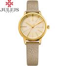 JULIUS 聚利時 香榭大道皮錶帶腕錶-香檳金/28mm 【JA-944B】