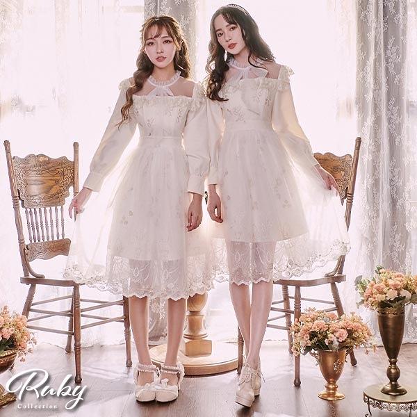 洋裝 露比設計‧宮廷風荷葉綁帶刺繡長袖洋裝-Ruby s 露比午茶