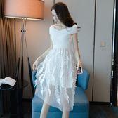 洋裝 韓版一字肩小清新露肩 米蘭shoe