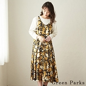 「Autumn」水彩印花V領綁帶連身裙 - Green Parks
