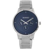 【台南 時代鐘錶 MANGO】西班牙時尚 三眼日期 鋼錶帶男錶 MA6751M-55 深藍/銀 42mm 對錶