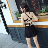 泳衣女連體保守性感遮肚顯瘦裙式平角露背黑色游泳衣時尚韓國修身 免運
