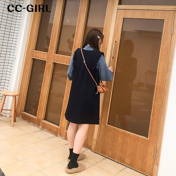 中大尺碼 木耳邊無袖背心洋裝~共兩色 - 適XL~5L《 67319 》CC-GIRL