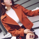 秋冬裝復古西裝領機車風繡花短外套插肩袖夾克上衣HX1718【花貓女王】