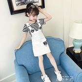 女童吊帶裙兩件套洋裝韓版洋氣兒童裙子夏款小女孩時髦牛仔洋裝套裝 米娜小鋪