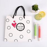 春季上新 韓版小清新厚紙袋子手提袋復古文藝生日婚禮禮品袋禮物購物袋