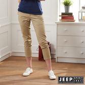 【JEEP】女裝 舒適修身素面長褲-卡其