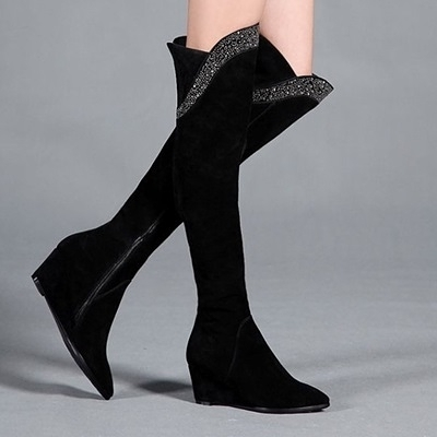 長靴-閃亮水鑽顯瘦修腿尖頭真皮女過膝靴71ab47【巴黎精品】